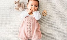 Baby overalls with center lace panel (chart provided) and ribbed legs and bodice, suspenders/braces fasten with 2 buttons on the front Knitting For Kids, Baby Knitting Patterns, Tricot Baby, Baby Barn, Baby Overalls, Cool Baby Stuff, Alter, Kids And Parenting, Groomsmen