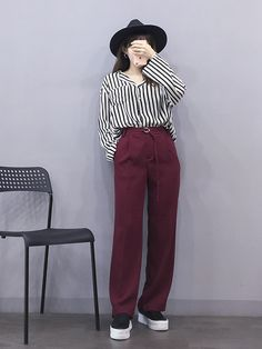 Image may contain: one or more people and stripesYou can find Korean beauty and more on our website. Korean Fashion Trends, Korean Street Fashion, Korea Fashion, Kpop Fashion, Asian Fashion, Hijab Fashion, Fashion Outfits, Ulzzang Fashion, Tomboy Fashion