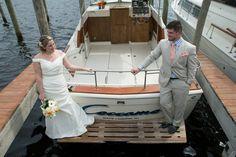 Nautical Wedding, Forked River, NJ.  Latitudes on the River. Photos: Inspire Me Imagery.   Boating, wedding photos, swim platform, #coccamo
