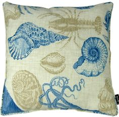 "Whimsical Sea Life coastal pillow is a ivory linen like patterned pillow with blue and sand colored sea life on a 18"" x 18"" indoor-outdoor coastal pillow. #coastalpillow #shellpillow"