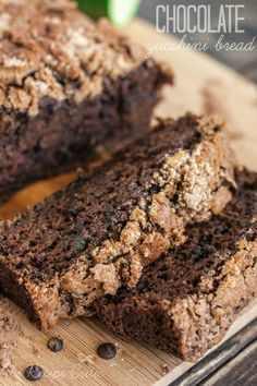 The BEST chocolate zucchini bread you will ever have!  1 1/2 cups hidden inside and is a great way to use up that zucchini!