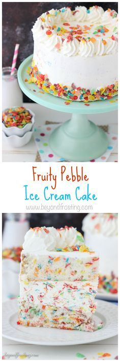 Layer after layer of Fruity Pebble dessert here! This Fruity Pebble Ice Cream Cake is a vanilla Fruity Pebble Cake with a no-churn Fruity Pebble Ice Cream and whipped cream frosting.