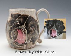 Send me a photo of your pooch and whether of not you want it to say anything on the back of the mug; then choose your color from what I have to offer. This is hand painted with glazes and the image is permanent, dishwasher and microwave safe. Portrait Images, Dog Portraits, Ceramic Mugs, Custom Mugs, Pet Dogs, Microwave, Dishwasher, Your Dog, Hand Painted