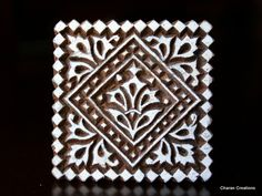 """Hand Carved Indian Wood Textile Stamp Block- Square Geometric Motif. 2.25"""""""