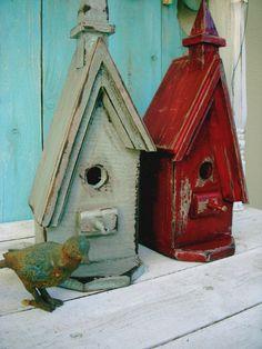 Wooden Birdhouse Shabby A Frame Birdhouse by honeystreasures. $45.00, via Etsy.