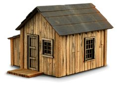 Zeke's Cabin - front right view Woodworking Techniques, Woodworking Plans, Popsicle Stick Crafts For Adults, Cabin Dollhouse, Ho Train Layouts, Ho Scale Buildings, Fairy Tree Houses, Cabins For Sale, Medieval Houses