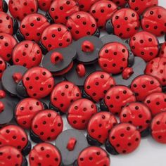 Metal Craft Sewing Novelty Buttons Set of 4 Birthday Party Red Black Polka Dots