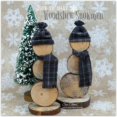 A cute Holiday Decoration or Gift. I love Snowmen and these cute little guys made from Wood Slices cut from branches trimmed from our old pine tree. - These guys are so darn cute! Wooden Christmas Crafts, Christmas Projects, Christmas Fun, Holiday Crafts, Christmas Decorations, Christmas Ornaments, Holiday Decor, Christmas Signs, Wood Slice Crafts