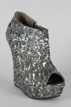 Bamboo Driven-82 Sequin Peep Toe Wedge Bootie..o my these would be PERFECT for New Years