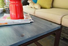 I love this table color Young House Love | It's Here! And That's Back! | http://www.younghouselove.com