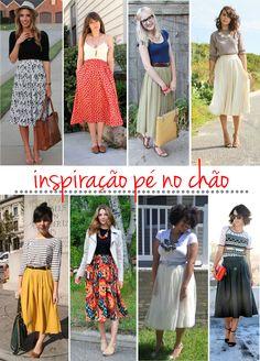 Meninas, vejam que coisa mais linda essas inspirações para usar e abusar das saias todos os dias! <3  #Amo #AmoSaias #Feminina