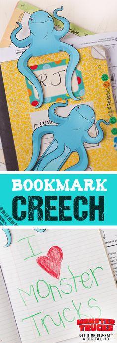 Monster Trucks Movie Creech Printable Bookmark - Lovebugs and Postcards