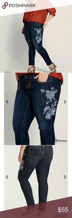 Torrid Vintage Skinny Jeans Torrid Vintage Premium Skinny Jeans - Dark Wash with Floral Cross-Stitch Embroidery. torrid Jeans Skinny