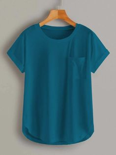 Jean Skirt Outfits, Casual Mode, Petal Sleeve, Latest T Shirt, Pocket Detail, Couture, Cool Tees, Western Wear, Teal Blue