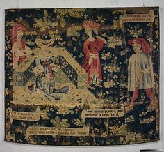 Honor Making a Chaplet of Roses, ca. 1410–20. South Netherlandish. The Metropolitan Museum of Art, New York. The Cloisters Collection, 1959 (59.85) | Essentially an allegory of courtly love, this fragmentary tapestry hanging was inspired by romances of the thirteenth and fourteenth centuries.