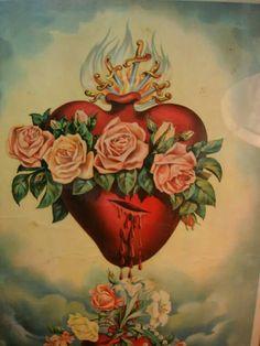 The Immaculate Heart of the Blessed Virgin Mary Catholic Art, Religious Art, Sagrado Corazon Tattoo, Mary Tattoo, Sacred Heart Tattoos, Jesus E Maria, Heart Of Jesus, Holy Mary, Blessed Virgin Mary