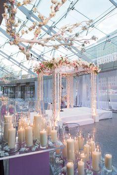 An Uplit Chuppah | 23 Wedding Chuppah Ideas We Love | https://www.theknot.com/content/creative-wedding-chuppah-ideas