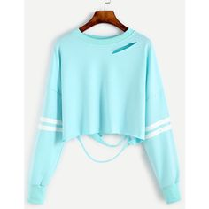 Sleeve Striped Drop Shoulder Cut Out Crop Sweatshirt ($14) ❤ liked on Polyvore featuring tops, hoodies, sweatshirts, blue, cut-out crop tops, long sleeve pullover, blue pullover, blue crop top and crop top