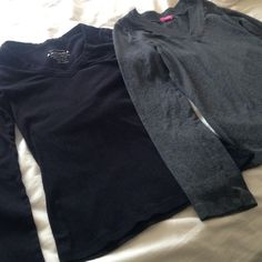 Two long sleeve V neck shirts Black Arizona brand long sleeve top, size M. Dark gray long sleeve top, size M. Both have been worn but I'm great condition, no stains, rips or tears. Smoke free home. Arizona Jean Company Tops Tees - Long Sleeve
