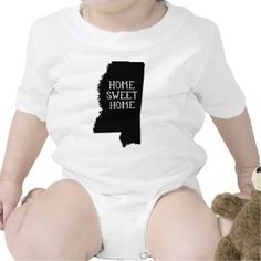 Home Sweet Home Mississippi Baby Creeper   | Customize by adding a name. Pink, Blue, Grey, White, Long Sleeve and Short Sleeve options available. | Onsie Bodysuit Gift for Baby #babygift #Mississippi #onsie #bodysuit #gift #cute