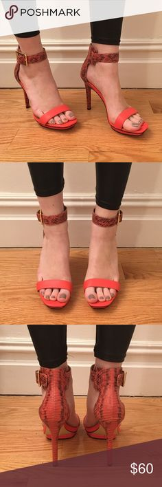 """Calvin Klein strappy heels NEVER WORN except to try on! Strappy heels in a beautiful coral color perfect for spring/summer.  4"""" heel with small platform and gold branded buckle. Calvin Klein Shoes Heels"""