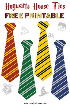 Harry potter printables - Free Printable Hogwarts House Ties for your Harry Potter Party – Harry potter printables Harry Potter Halloween, Cosplay Harry Potter, Harry Potter Motto Party, Harry Potter Fiesta, Décoration Harry Potter, Cumpleaños Harry Potter, Harry Potter Classroom, Harry Potter Christmas, Harry Potter Birthday