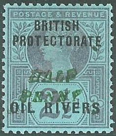 """Oil Rivers (SG 35)  """"HALF PENNY"""" in green on 2½d purple on blue, type 8, small italic capitals"""