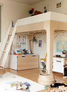 Our Oeuf Perch Bunk Bed, looking cozy. Shown here as a loft bed (comes with…