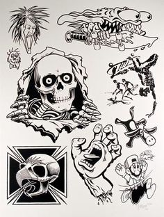 """""""Skate Two"""" Mike Giant (Poster Child Prints) Skateboard Tattoo, Skate Tattoo, Skateboard Art, Tattoo Sketches, Tattoo Drawings, Dessin Old School, Mike Giant, 8bit Art, Skate Art"""