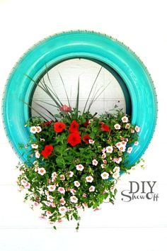Suspension fleurs pneu