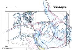 artbooksnat:  Kill la Kill (キルラキル)Key frames from the 360-degree fight sequence between Ryuko and Satsuki, at the end of the first opening animation, were featured in theKill la Kill Animation Originals Book Vol. 01 (Amazon US | Trigger). It's kind of amazing to see just how much from each frame never makes it on screen.