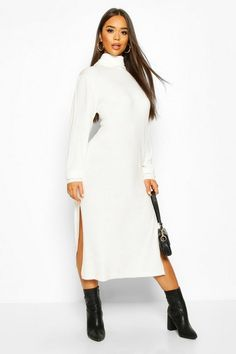 Womens Midi Roll Neck sweater Dress - white - S Roll Neck Jumper Dress, Long Sleeve Smock Dress, Long Sleeve Bodysuit, Latest Fashion Dresses, Latest Dress, Front Knot Dress, Skirt Co Ord, Roll Neck Top, Roll Neck Jumpers