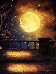 Golden moon, fantasy, art, night, dark, balkon