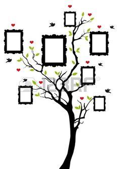 stamboom met foto frames, achtergrond afbeelding