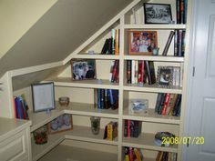 Floating Shelves For Slanted Walls Tilted Shelf Bookcase Bookcases Angled Best Ideas Wall With Light Wood Bookshelf Library Shelves, Bookshelves Built In, Built Ins, Creative Bookshelves, Bookcases, Small Bathroom Furniture, Used Office Furniture, Rustic Bookcase, Built In Dresser