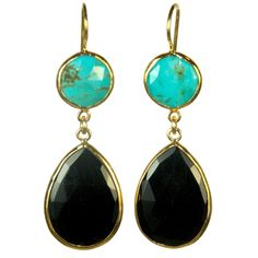 Turquoise and Onyx Drops ~by Margaret Elizabeth