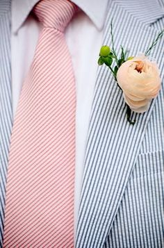 Seersucker suit and tie, classic and nautical .but its is here for the boutonniere fellas Wedding Suits, Wedding Attire, Wedding Bride, Dream Wedding, Gold Wedding, Summer Wedding, Striped Wedding, Nautical Wedding, Groom Attire