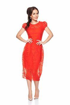 Daniella Cristea Duchess Red Dress, raised flowers, elastic held sleeves, short sleeves, one back botton fastening, back zipper fastening, nonelastic fabric