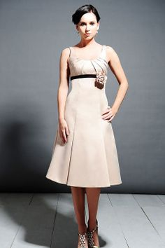Straps A-line with hand made flower satin bridesmaid dress