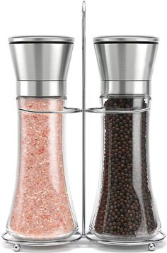 Modern Design Premium Salt and Pepper Grinder Set 5 Grade Adjustable Ceramic Rotor Salt and Pepper Shakers by Kind Che 2 Glass Body Mills with Steel Stand Efficient Stainless Steel Lids