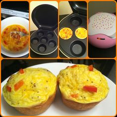 I made these this morning for breakfast: 2 large eggs (scrambled), add salt, pepper, a pinch of shredded cheese, red peppers, and bacon. Bake in a muffin tin (or cupcake maker) until they rise - these took about 10 minutes in my cupcake maker. Enjoy!