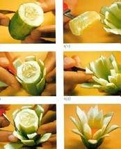 Thai fruit carving--this article has instructions regarding how to prep the fruit/veg so it stays looking fresh.