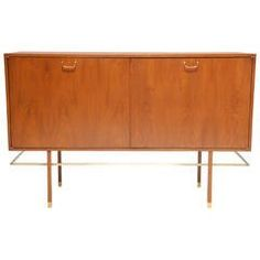 Mahogany Harvey Probber Sideboard with Brass Pulls and Walnut Doors
