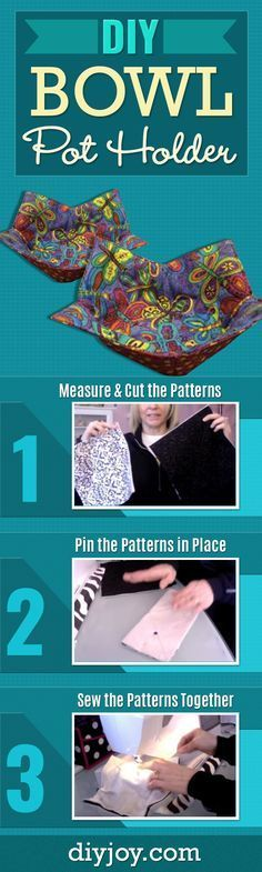 DIY Bowl Potholder - Easy Sewing Projects With Free Sewing Patterns - Youtube Video and Step by Step Tutorial for DIY Kitchen Home Decor