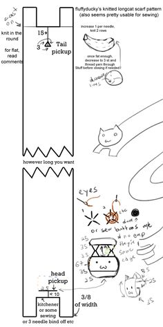 The old one got deleted ;_; So redoing this from memory. Please favourite or link back if you use it! The picture is kinda easier to understand 8'D Longcat tacgnol BODY: Cast on however many stitch...