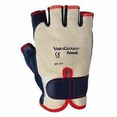 Ansell Vibraguard 7-111 Nitrile Anti Vibration Glove, Cut Resistant, Half Finger ebay seller georges_cat