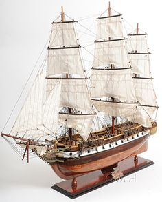 "CaptJimsCargo - USS Constellation Frigate Wooden Tall Ship Model 38"" Warship Assembled, (http://www.captjimscargo.com/model-tall-ships/warships/uss-constellation-frigate-wooden-tall-ship-model-38-warship-assembled/) The tall ship model is built exactly to scale as the original USS Constellation was."