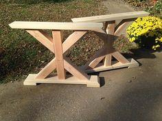 Farmhouse Trestle Table Legs X-Frame Table Legs by MoritzWoodworks
