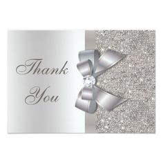 Silver Faux Bow & Diamonds Thank You Card