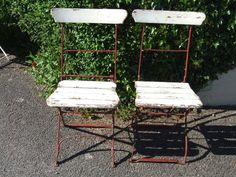 Jolly ' Pair ' of Vintage French Folding Garden / Café / Patio Chairs | eBay UK  | eBay.co.uk